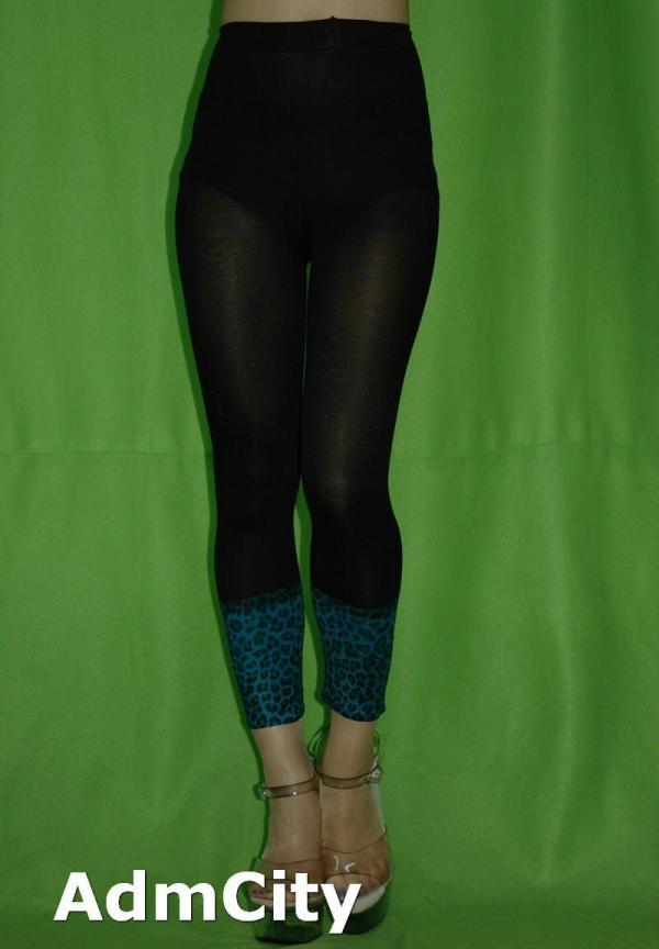 Two Tone Opaque Spandex Leopard Print Footless Pants