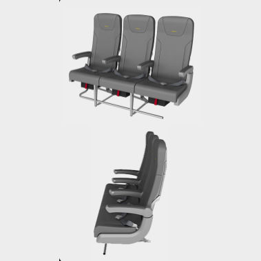 飛機座椅 - KKY420/KKY421 - Elan Aircraft Seating - 乘客 / 布料 / 靠背可調節