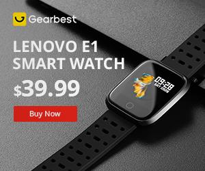Gearbest 10% Comissão & 500 Pulseiras Grátis: Lenovo E1 Relógio Inteligente promotion