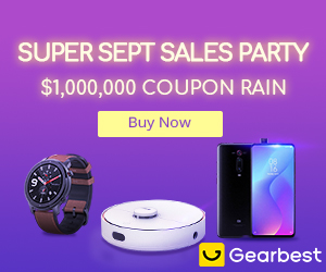 Gearbest Super Sept Sales Party $1,000,000 Coupon Rain promotion