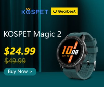 Gearbest Kospet MAGIC 2 1.3 inch Smart Watch 30 Sport Modes HD 360 x 360 Resolution Screen IP67 Waterproof Bluetooth 4.0 - Multi Green Watch Extra Black Strap promotion
