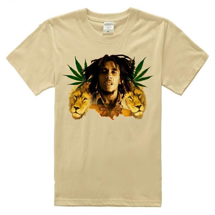 ᑐBob Marley reggae feuilles collage avatar homme t shirt en coton ... c9edf8324de