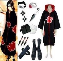 Anime Naruto Cosplay Apparel Naruto Akatsuki Itachi Uchiha Cosplay Costume Set Free Shipping