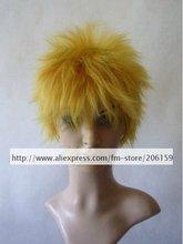 Cosplay wigs Party wig Naruto Shippuden Uzumaki Naruto cosplay wig human hair for Halloween Free shipping