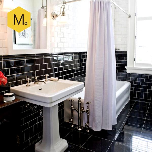 subway tile for kitchen farmhouse faucets 末末家浴室厕所瓷片北欧地铁砖厨房卫生间墙砖黑白色75x150斜边 时尚城