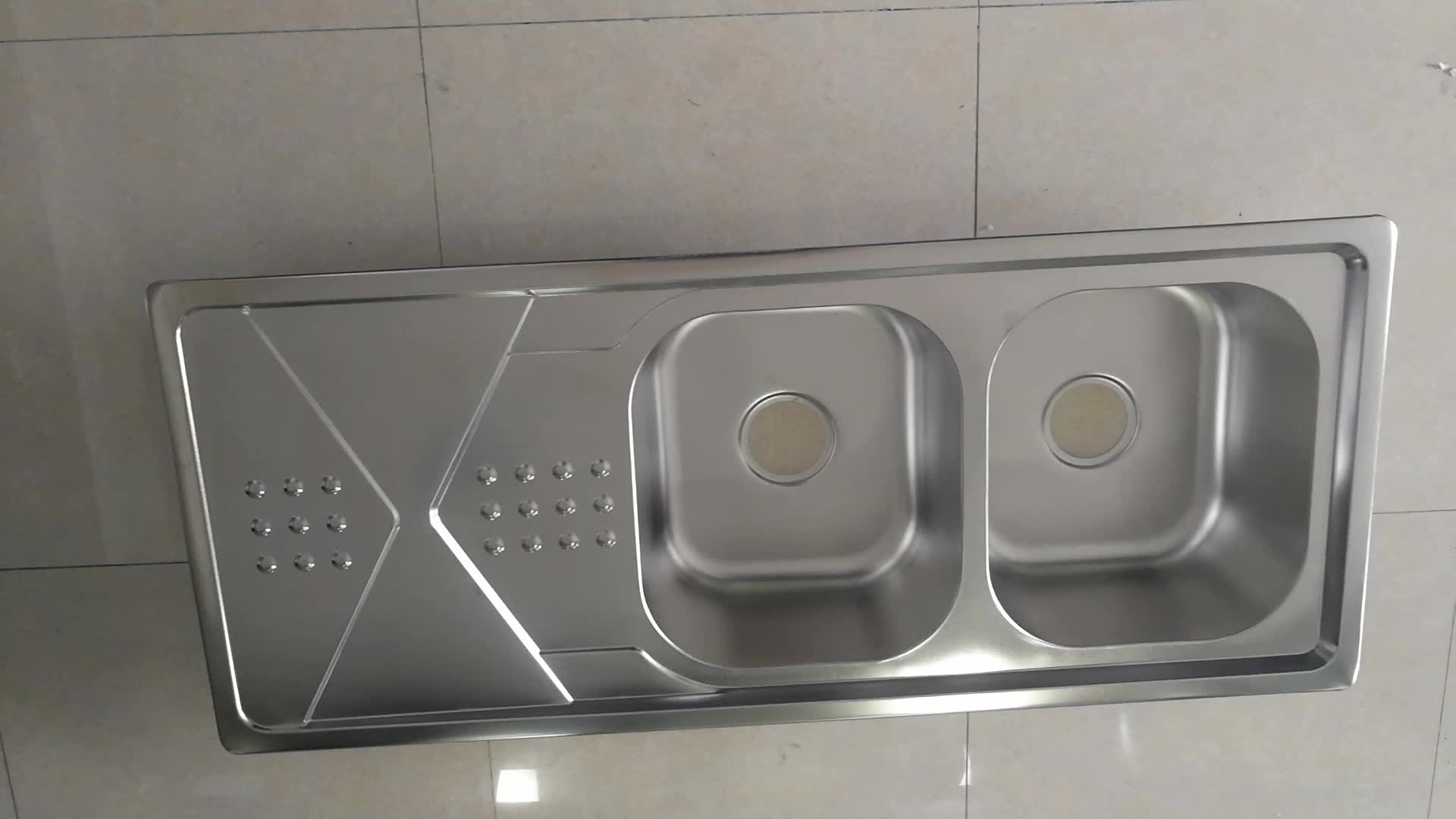 double kitchen sink with drainboard compost pail for iran maket stainless steel bowl single
