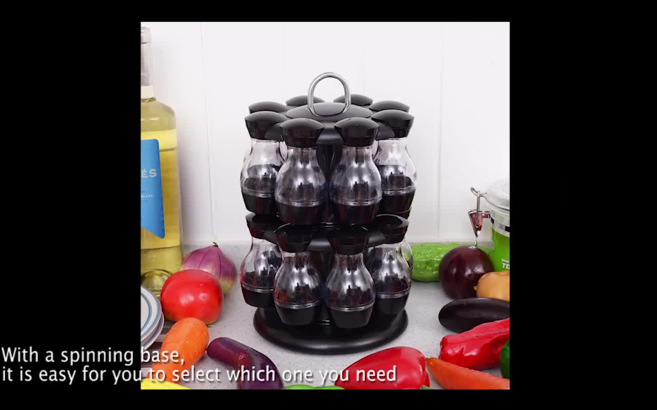 revolving spice racks for kitchen blue and yellow curtains 16 jar rotating rack carouse storage holder