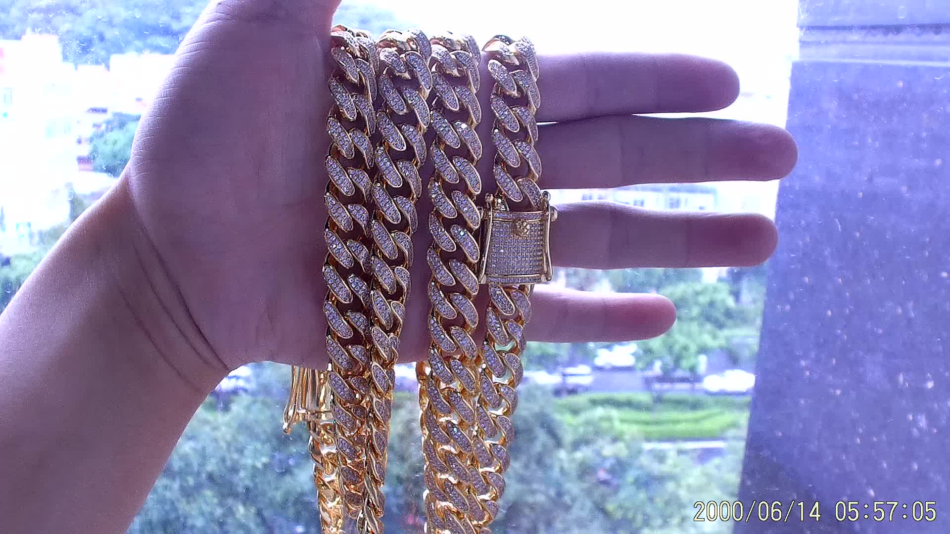12mm New Mens Diamond Gold Miami Cuban Link Chains18k