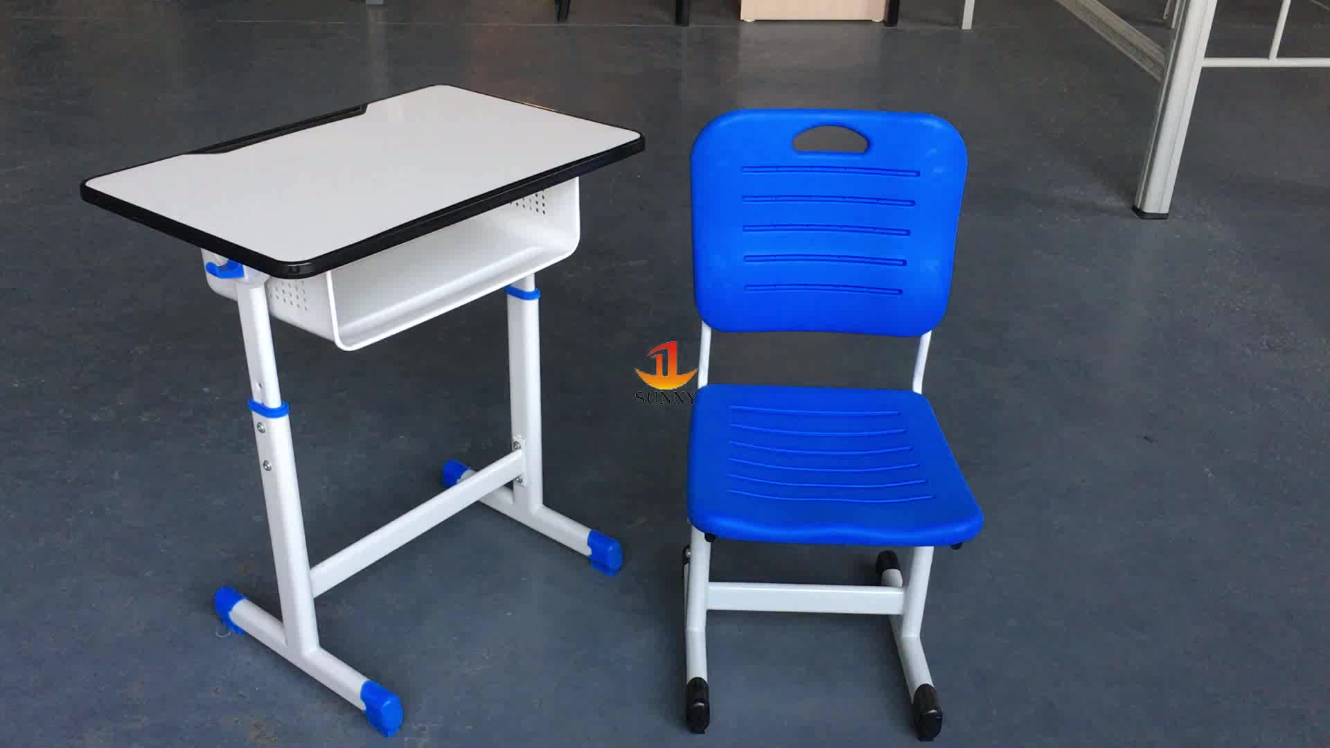 Student Desk And Chair Set Adjustable Single Desk And Plastic Student Chair School