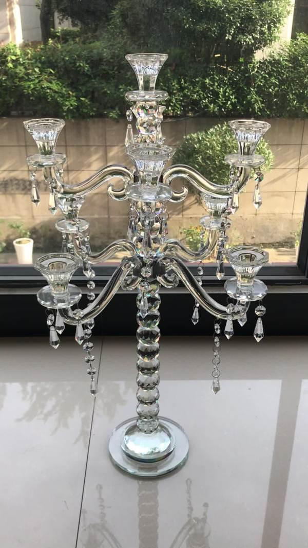 Cheap 3 Arm Crystal Beaded Candelabra Wedding Table