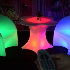 Led Table And Chairs Top High Chair Reviews Modern Design Light Up Plastic Dining