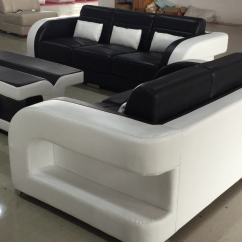 Genuine Leather Sofa Sets Wicker Sectional Patio Dining Set Black And White For Sale C1183d