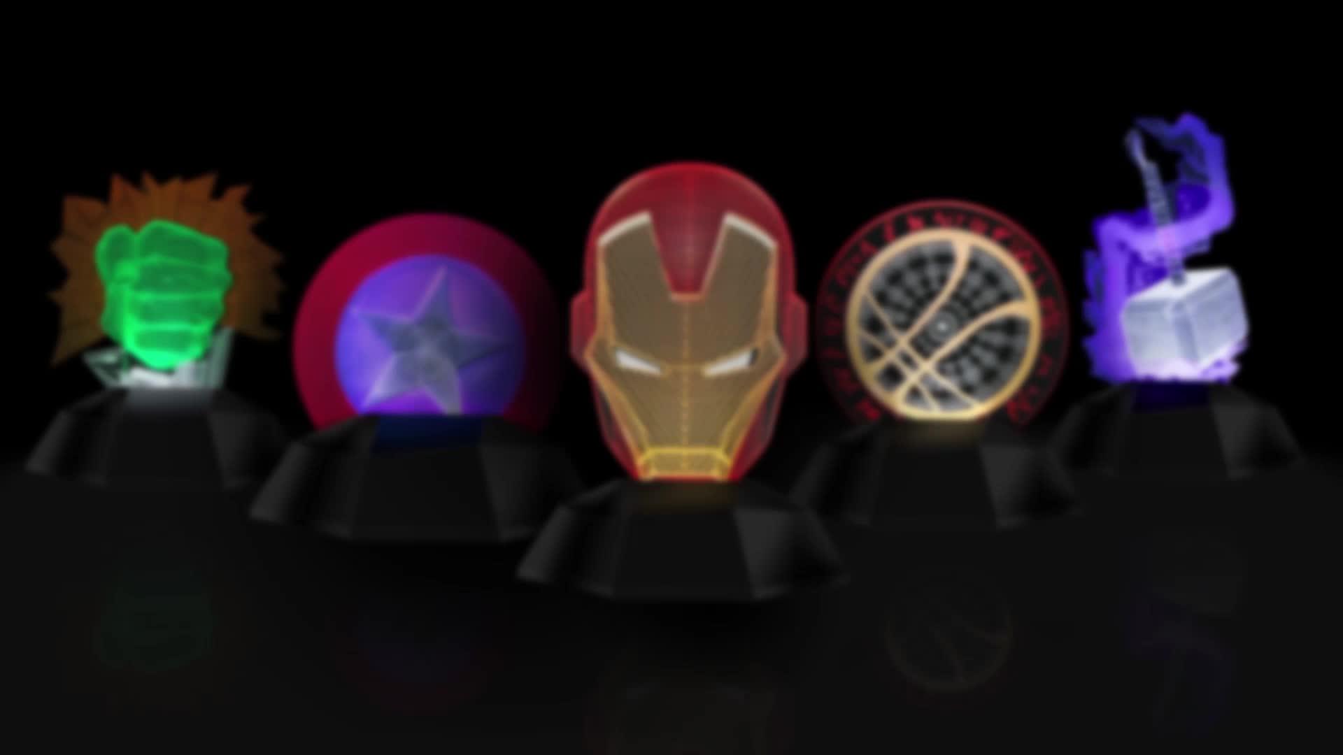 Superhero Theme 3d Line Lamp Iron Man Thor Dr Strange Hulk