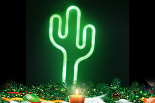 Neon Marquee Cactus Sign 3-aa Battery Powered & Usb