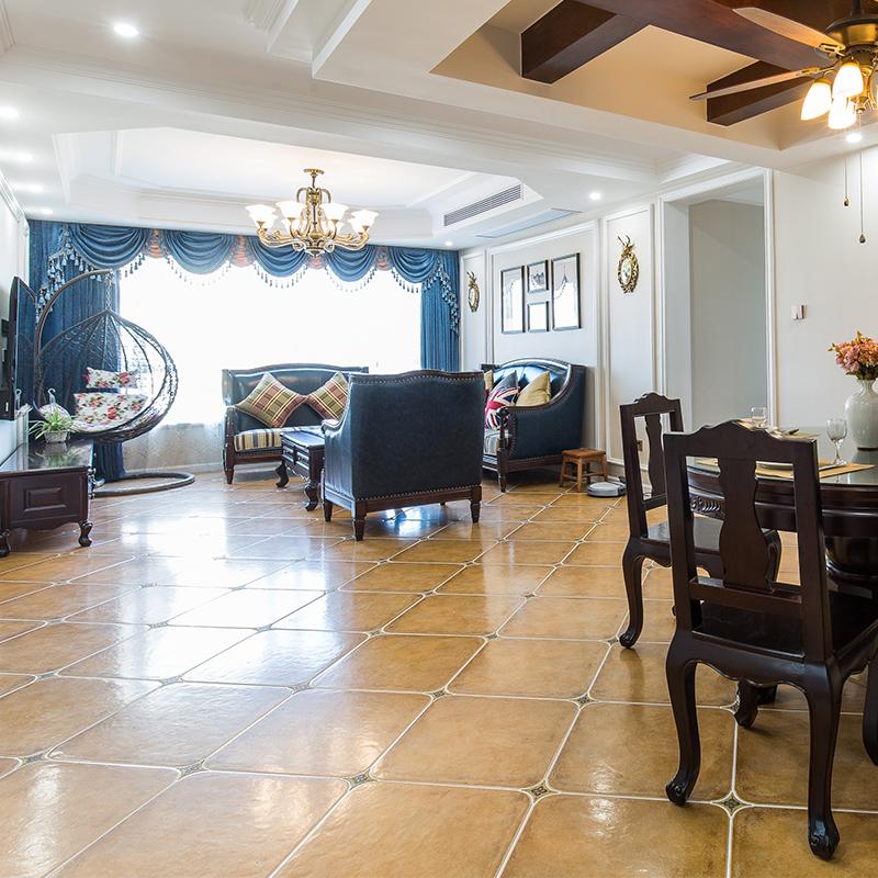 kitchen tile floor island table with stools 地砖仿古砖客厅美式复古欧式地中海卫生间阳台厨房乡村瓷砖地板砖 厨房瓷砖地板