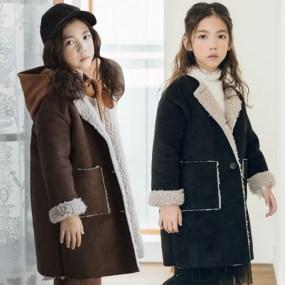 韩国女童外套2018秋冬装新款休闲鹿皮绒大衣中大童加厚羊羔绒上衣