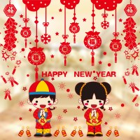 2017 Happy New Year Chinese New Year wall stickers glass
