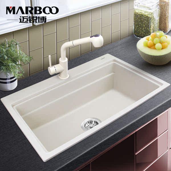 kitchen sink white modern faucet 迈锐博石英石水槽白色单盆厨房手工大单槽花岗岩洗菜盆套餐sks453 水槽