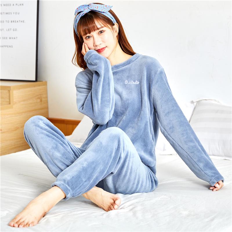 珊瑚絨睡衣女秋冬季加厚法蘭絨加絨冬天可外穿家居服暖暖褲套裝女