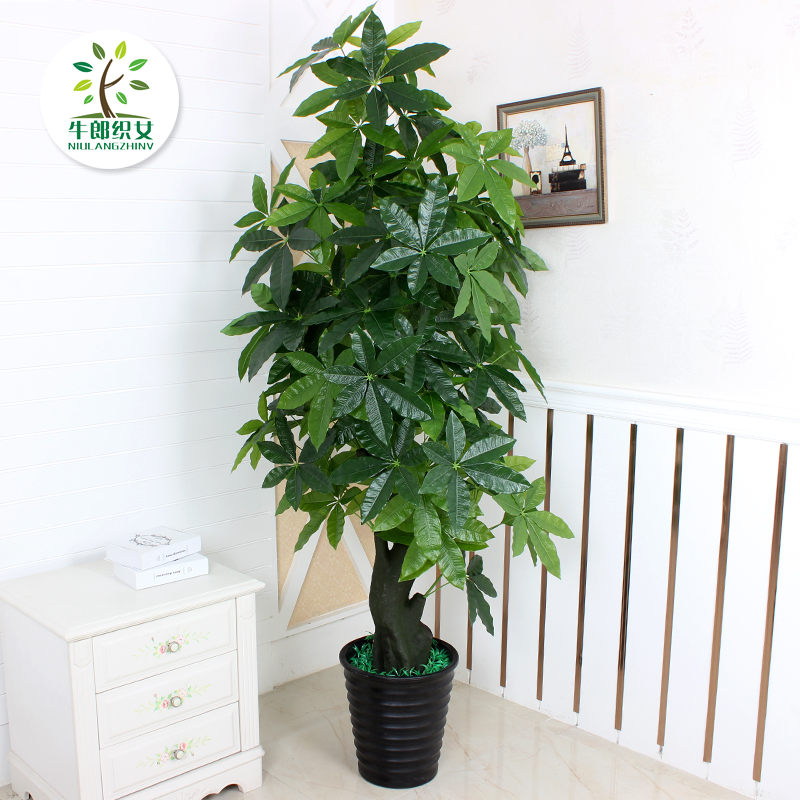 artificial plants for living room grey wood tile floor buy fake tree pachira potted large type indoor flowers bonsai simulation of plastic in cheap