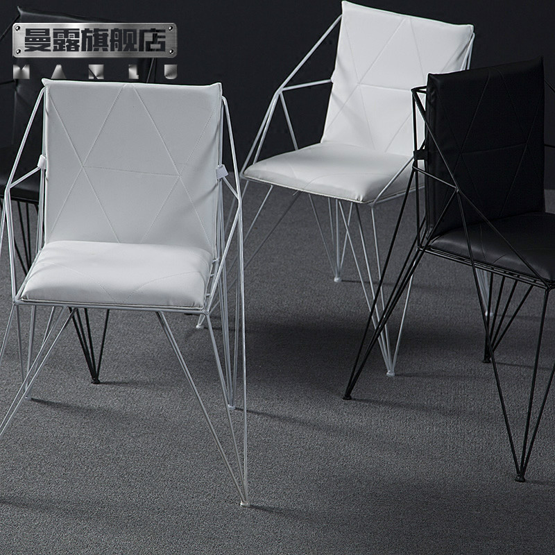 iron chair price claw foot buy man exposed loft creative diamond openwork modern minimalist dining metal by the back negotiations