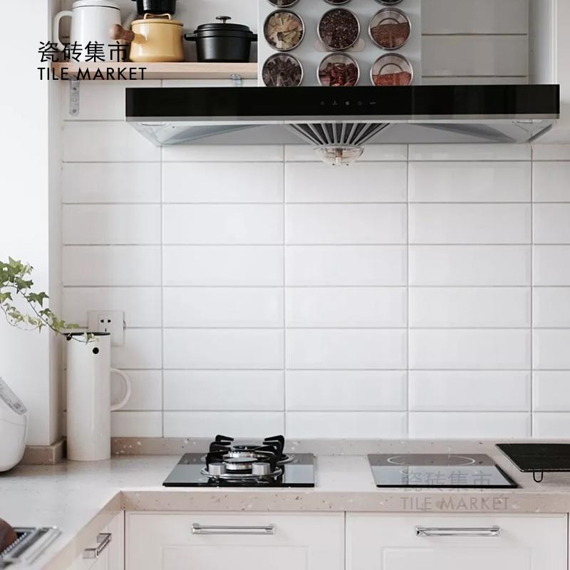 beveled subway tile kitchen sink farmhouse 北欧风格小白砖100x300 厨房卫生间瓷砖长条白色平面斜面地铁砖 斜面地铁砖厨房