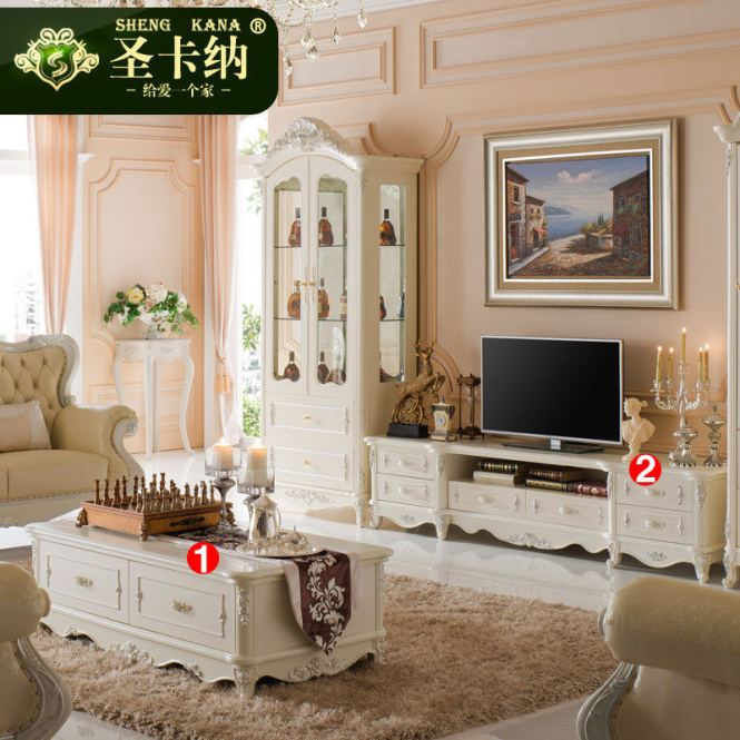 Amoy Ing French Tv Cabinet Coffee Table Combination