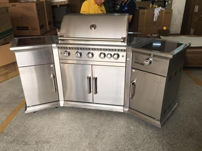 kitchen aid gas grills modern islands 美国别墅庭院家用户外厨房全不锈钢燃气烧烤架bbq烧烤台烤肉架 虎窝淘