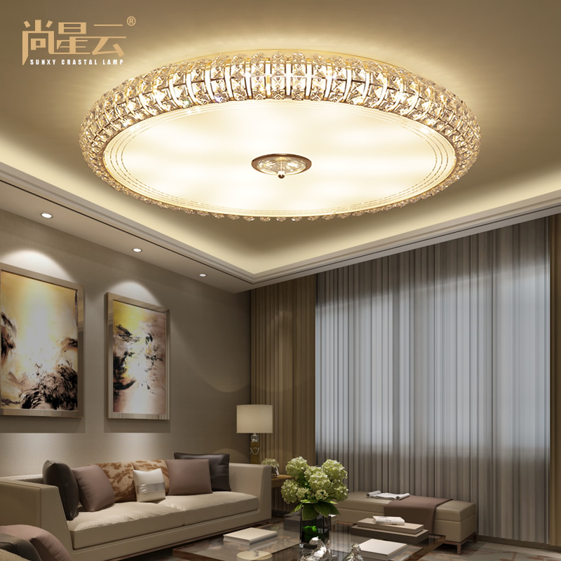 led ceiling light living room chocolate brown furniture buy remote control color lights round crystal lamp lamps atmospheric modern minimalist master bedroom restaurant in cheap