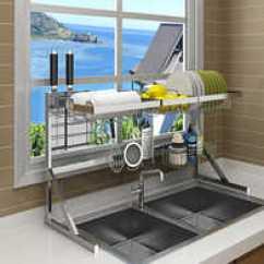 Kitchen Supplies Online And Bath Cabinets 厨房用品设计 厨房用品收纳 厨房用品推荐 店 淘宝海外 不锈钢晾碗水槽架沥水架厨房置物架用品2层收纳架水池