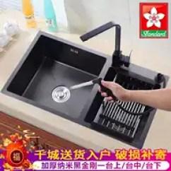 Black Sink Kitchen Buy Island 黑色厨房水槽尺寸 黑色厨房水槽品牌 黑色厨房水槽设计 安装 淘宝海外 黑色水槽厨房洗碗盆石英灶台水池新款纳米双槽厚304