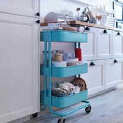 Portable Kitchen Cart Warehouse 宜家的推车哪里买 宜家的推车工厂 宜家的推车图片 材质 淘宝海外 印象宜家拉斯克手推车厨房推车置物架三层小推车宜家
