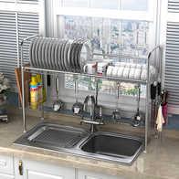 hahn kitchen sinks real wood cabinets 水槽收納架設計 水槽收納架收納 水槽收納架推薦 店 淘寶海外 詩諾雅304不鏽鋼碗架水槽瀝水架廚房置物架用品用具收納