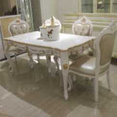 White Round Kitchen Table Cheap Faucets 厨房饭桌欧式尺寸 厨房饭桌欧式高度 厨房饭桌欧式价格 推荐 淘宝海外 欧式餐桌实木白色家用长方形客厅厨房吃饭桌子餐桌椅组合小户型