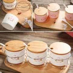 Kitchen Jars Corner Sinks For Sale 樱花厨房三件套价格 樱花厨房三件套做法 樱花厨房三件套推荐 哪里买 创意樱花陶瓷糖罐盐罐子厨房罐子调味罐调味缸套装配勺