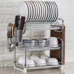 Triple Kitchen Sink Pre Made Cabinets 放盘子碗架子三层设计 放盘子碗架子三层收纳 放盘子碗架子三层推荐 店 架子放的三层多层功能厨房置物家用盘子托碗筷收纳