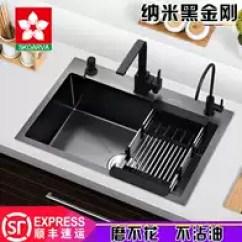Black Sink Kitchen Free Standing Unit 黑色厨房水槽尺寸 黑色厨房水槽品牌 黑色厨房水槽设计 安装 淘宝海外 纳米黑色水槽单槽三孔厨房加厚304不锈钢手工洗菜盆