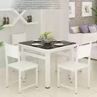 kitchen desk chair industrial lighting fixtures for 厨房桌椅尺寸 厨房桌椅高度 厨房桌椅价格 推荐 淘宝海外 正方形餐桌椅组合现代简约小户型钢化玻璃烤漆桌客厅厨房四方