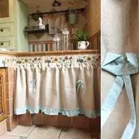 cafe kitchen curtains cabinet molding 咖啡馆窗帘哪里买 咖啡馆窗帘材质 咖啡馆窗帘种类 批发 淘宝海外 美式北欧纯色素色半帘短门帘窗帘装饰帘咖啡馆帘穿