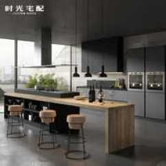 Ash Kitchen Cabinets Farmhouse Chairs 高厨柜设计 高厨柜价格 高厨柜价钱 颜色 淘宝海外 整体橱柜定做现代简约开放式厨房厨柜定制高级灰进口板材可