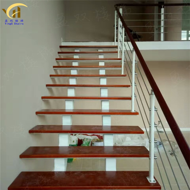 Usd 3 93 Straight Beam Staircase Whole Staircase Steel Wood   Steel And Wood Staircase   Steel Cable   Construction   Beautiful   New Model   Detail