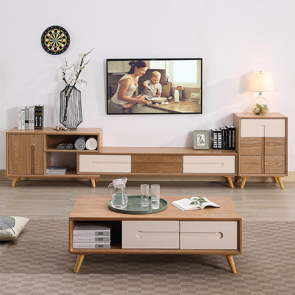 japanese living room set designs with blue walls nordic tv cabinet coffee table combination simple modern small apartment telescopic storage
