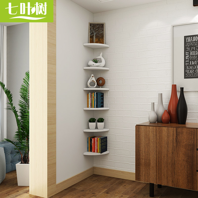 corner shelf for living room small with wood floors usd 29 17 wall perforated triangular bracket fan shaped shelves partitions