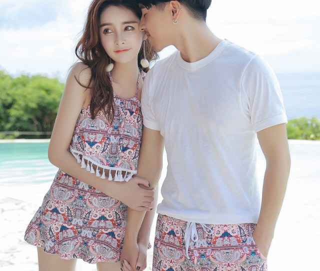 Korean Swimsuit Female Fashion Sexy Small Chest Gathered Split Was Thin Couple Swimsuit Beach Pants Swimsuit