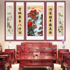 Painting For Living Room Feng Shui Toy Storage Usd 152 17 Zhongtang Hanging Rural Town House Landscape Atmospheric Vertical