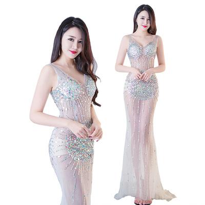 性感夜店女裝2020新款晚禮服顯瘦長版低胸透視裝修身洋裝秋季款
