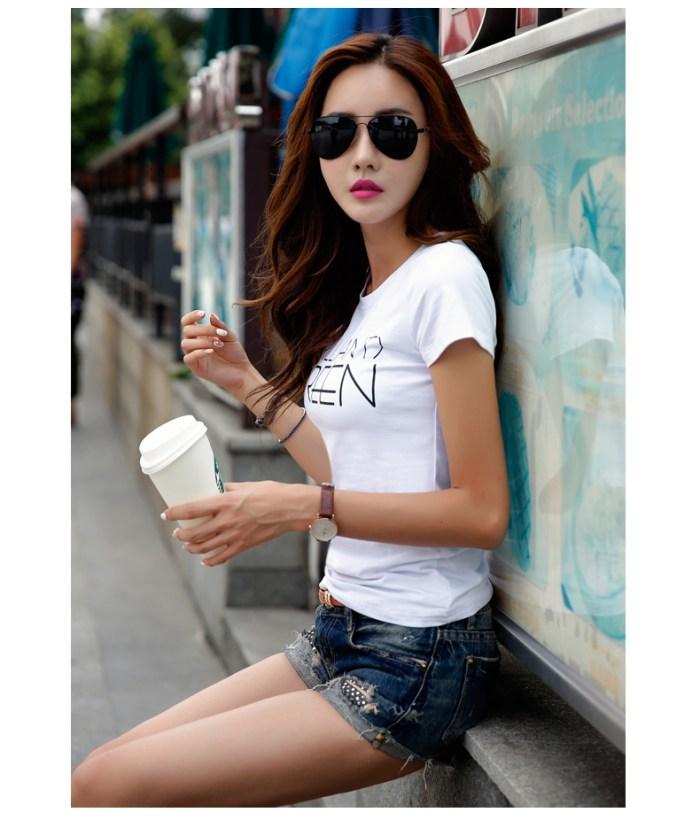 Korean-style cotton female New style Top T-shirt (Dark