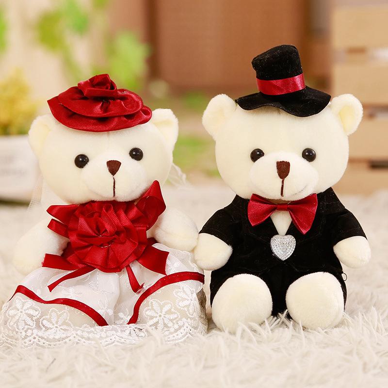 婚車車頭娃娃熊一對婚慶情侶小熊婚紗泰迪熊公仔結婚婚慶創意禮物-阿里巴巴