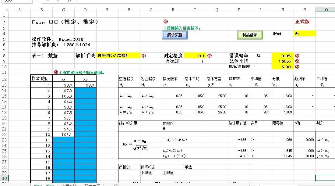 Excel QC品管統計分析模板軟體管制圖魚骨圖柏拉圖七大手法繪圖