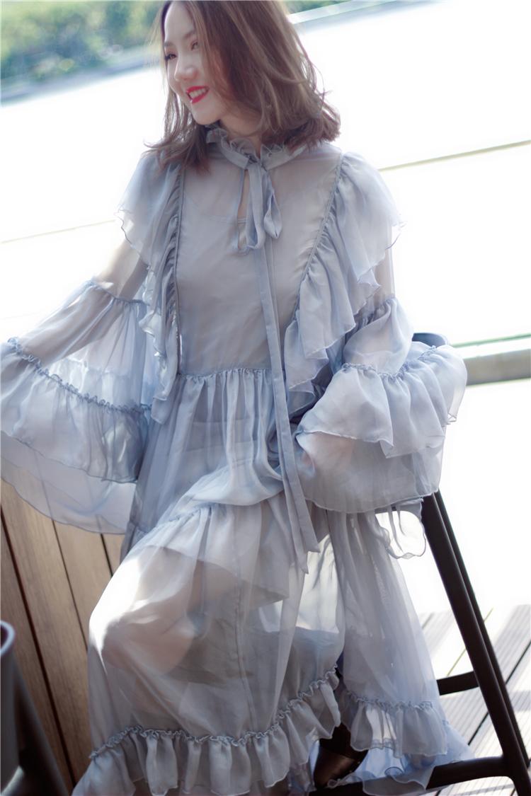 喵娘精工羅莉塔雪紡多層荷葉邊喇叭袖超仙飄逸森系長洋裝